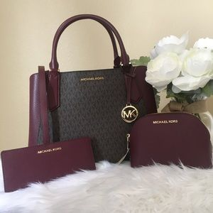 3PCS Michael Kors Kimberly satchel wallet&cosmetic